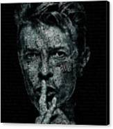 David Bowie Text Portrait - Typographic Poster With Album Titles And Background With Songs Names Canvas Print