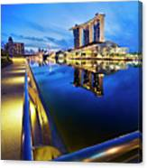 Dawn At Marina Bay Promenade Singapore Canvas Print
