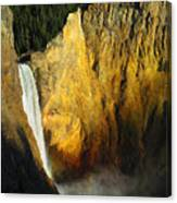 Dawn, Lower Falls Of The Yellowstone Canvas Print