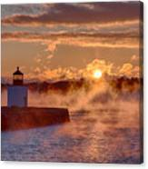 Dawn Peeking Over At Derby Lighthouse Canvas Print