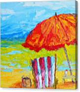 Day At The Beach - Modern Impressionist Knife Palette Oil Painting Canvas Print
