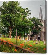 Day Lilies By A Church  Canvas Print