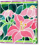 Day Lilies In Stained Glass Canvas Print