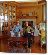 Db6362 Ed Cooper With Fred Beckey In Library 2013 Canvas Print