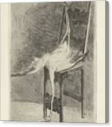 Dead Flamingo With The Legs Tied To The Handrail Of A Chair, Adriaan Pit, 1870 - 1896 Canvas Print