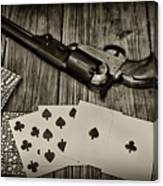 Dead Mans Hand Black And White Canvas Print