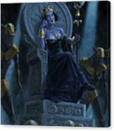 Death Queen On Throne With Skulls Canvas Print
