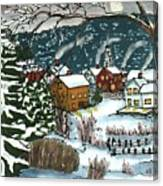 December Village Silk Painting Canvas Print