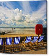 Deck chairs at Southend on Sea Canvas Print