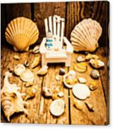 Deckchairs And Seashells Canvas Print