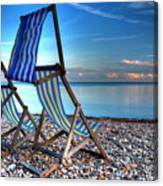 Deckchairs On The Shingle Canvas Print
