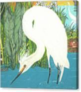 Deco Egret Canvas Print