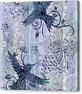Deco Hummingbird Blue Canvas Print