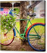 Decorated Bicycle In The Park Canvas Print