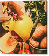 Decorated Organic Vegetables Canvas Print