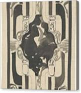 Decorative Design With Four Coats Of Arms, Carel Adolph Lion Cachet, 1874 - 1945 Canvas Print
