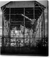Decrepid Barn Black And White Canvas Print