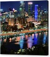 Deep Blue Night In Pittsburgh Canvas Print