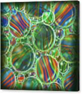 Deep Green Marbles Shower Curtain Canvas Print