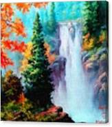 Deep Jungle Waterfall Scene. L A  Canvas Print