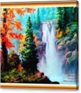 Deep Jungle Waterfall Scene L A With Alt. Decorative Ornate Printed Frame. Canvas Print