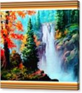 Deep Jungle Waterfall Scene L B With Alt. Decorative Ornate Printed Frame. Canvas Print