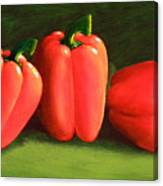 Deep Red Peppers Canvas Print