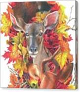Deer And Fall Leaves Canvas Print