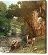 Deer By A River Canvas Print