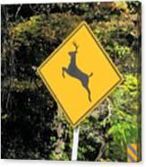 Deer Crossing Sign 2 Canvas Print