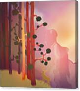 Deer In The Forest - Abstract And Colorful Mountains Canvas Print