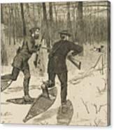 Deer-stalking In The Adirondacks In Winter Canvas Print