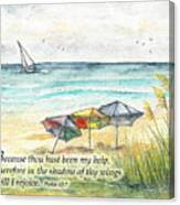 Deerfield Beach Umbrellas Psalm 63 Canvas Print