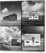 Defunct Country Taverns On North Dakota Prairie Composite Square Canvas Print