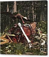 Deinonychus & Coloborhynchus Birds Feed Canvas Print