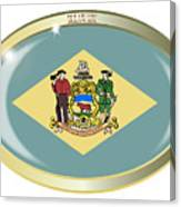 Delaware State Flag Oval Button Canvas Print
