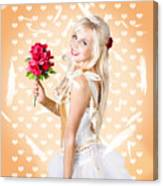 Delicate Young Woman Holding Flower Bunch Canvas Print