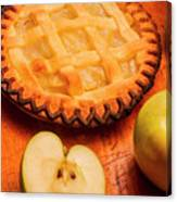 Delicious Apple Pie With Fresh Apples On Table Canvas Print