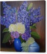 Delphiniums In Blue Vase Canvas Print