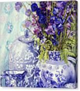 Delphiniums With Antique Blue Pots Canvas Print