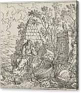 Democritus Mediterend, Jonas Umbach, 1634 - 1693 Canvas Print