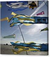 Denmark, Romo, Kites Flying At Beach Canvas Print