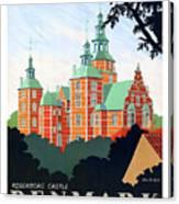 Denmark, Rosenborg Castle, Vintage Travel Poster Canvas Print
