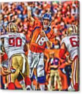 Denver Broncos Peyton Manning Oil Art Canvas Print