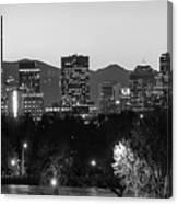 Denver Colorado Skyline Wide Angle Black And White Canvas Print