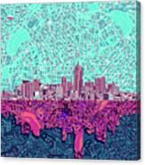 Denver Skyline Abstract 7 Canvas Print