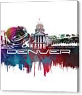 Denver Skyline City Blue Canvas Print