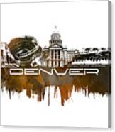 Denver Skyline City Brown Canvas Print