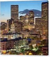 Denver Skyline Evening Panoramic Canvas Print