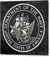 Department Of The Navy Emblem Polished Granite Canvas Print
